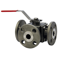 Трёхходовой фланцевый шаровой клапан WE34 из нержавеющей стали